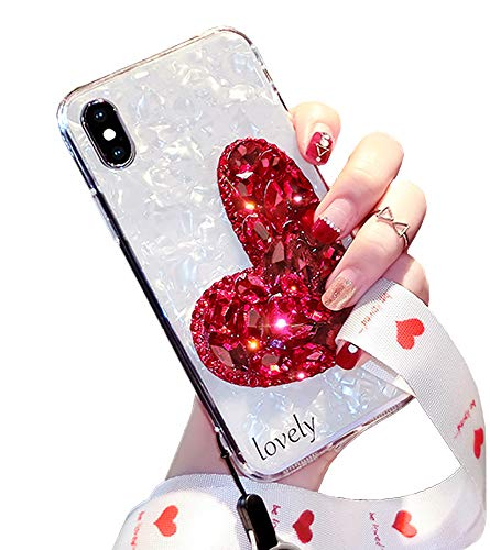 Black Lemon Phone Case Compatible for iPhone 7 Plus / 8 Plus Bling Glitter Case for Girls Women Smooth Soft Touch Luxury Diamond Lovely Heart Silicone Back Cover with Neck Lanyard (Red 1)