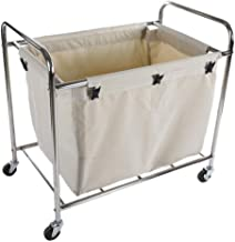 Hotel Cart Room Service Car,Laundry Basket, Laundry Trolley with 3 Removable Fabric Bags, Laundry Container On Wheels, Lau...