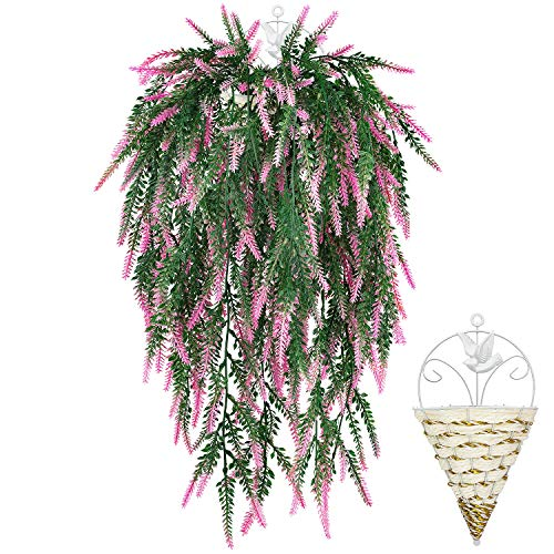 GPARK 6Pcs (Each 30.7'') (Basket Includes) Artificial Lavender Bouquet Fake Hanging Vines Plants for Wedding Party Home Garden Kitchen Indoor Outdoor Greenery Patio Decoration Pink