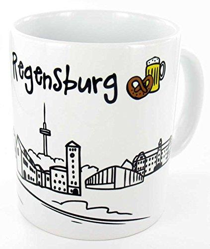 die stadtmeister Keramiktasse Skyline Regensburg - als Geschenk für Regenburger & Fans Regensburgs oder als Souvenir