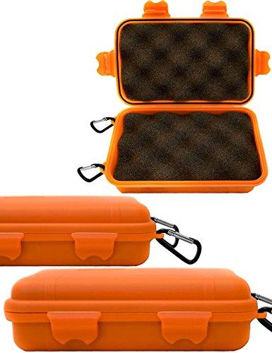 Outdoor Saxx® - Storage Case Transport-Case mit 2X Karabiner, Schutz-Hülle Spritz-wasserdicht stoß-geschützt, für Kamera, Handy, Ausrüstung, Boot, Ski, Jagd, Strand, 16x11cm orange