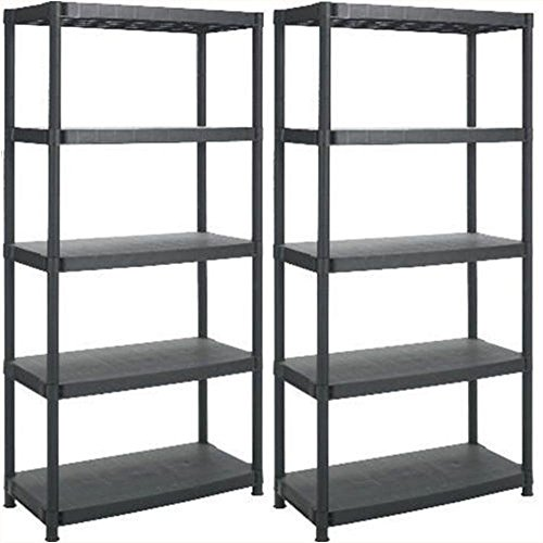 2 x 5 TIER PLASTIC SHELVING UNIT STORAGE RACKING SHELVES GARAGE WAREHOUSE SHED