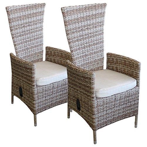 Multistore 2002 Lagerräumung - 2 Stück Polyrattan Sessel Rattansessel Relaxsessel Rückenlehne stufenlos verstellbar Nature + Sitzkissen Beige Gartensessel