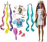 Barbie Cheveux Fantastiques poupée brune aux longs cheveux brillants avec 2 serre-têtes fantaisie et accessoires, jouet pour enfant, GHN05