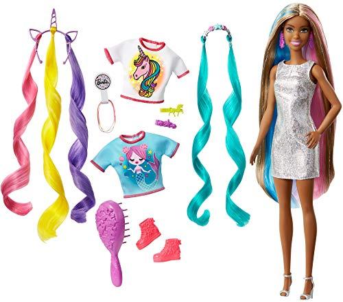 Barbie Capelli Fantasia, Bambola Castana, con Accessori da Sirena e Unicorno, Giocattolo per Bambini 3+ Anni, GHN05
