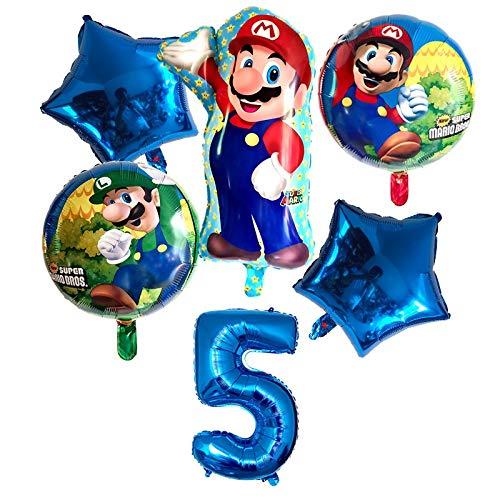 ZWYCEX Ballon KUKUZHU Super Mario Ballons 32 pouces Nombre Ballons Boy Girl Birthday Party Mario Bros Luigi Mylar ballon vert Set Décor (Color : Blue 5)
