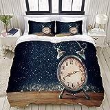 Nonun Juego de Funda nórdica, Imagen de Reloj Despertador Vintage en Madera, Juego de Cama de 3 Piezas Decorativo Colorido con 2 Fundas de Almohada