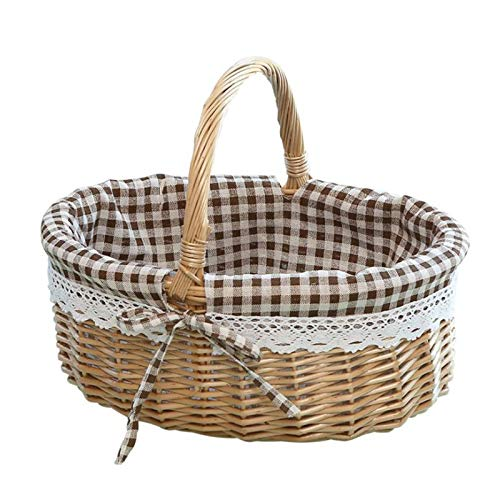 STOYRB Cesta de picnic de campo, 1 paquete de cestas de mimbre de picnic con forro y asa, cesta de pan, cesta de almacenamiento pequeña para regalo de dulces, cestas de boda, marrón, 28 x 26 x