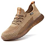 SUADEX Indestructible Steel Toe Shoes Men Work Safety Shoes for Men Women Lightweight Composite Toe Working Shoes Brown 12 Women/10Men