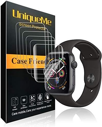 UniqueMe Per Pellicola Protettiva Apple Watch 44mm (Series 4/5 Compatible), [5 pezzi] [Bubble-Free] Liquid Skin HD Clear TPU Film Flessibile Con Garanzia Di Sostituzione A Vita
