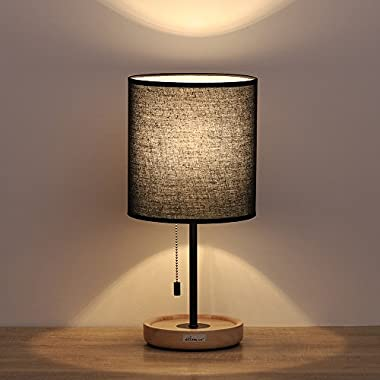 HAITRAL Wooden Table Lamps Black - Minimalist Bedside Desk Lamp with Wood Base and Black Lamp Shade, Nightstand Lamps for Bedroom, Living Room, Dinning Room, Kids Room, Girls Room