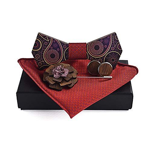 Pajaritas Hombres y mujeres impresos en la superficie de Paisley Broche Cuadrado Camisa de ocio de madera Corbata de lazo Corbata de moño Corbata de lazo Corbata de lazo de regalo Adecuado para caball