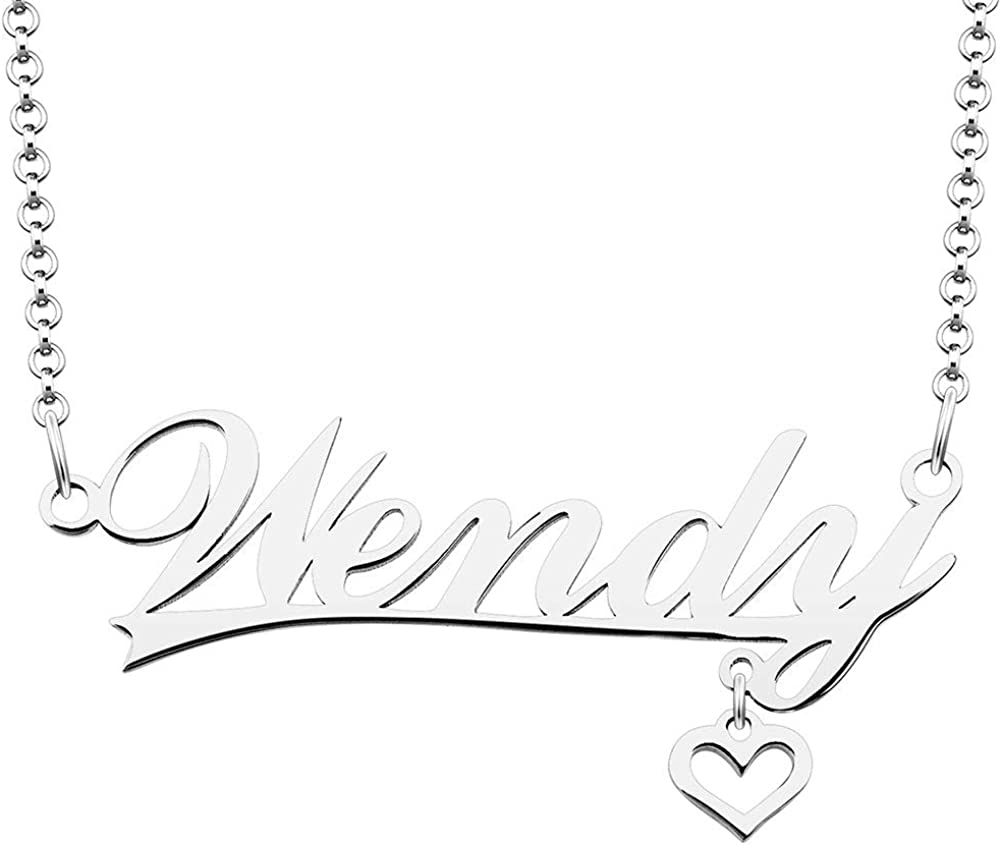 ShinyJewelry 925 Super intense SALE Sterling Fees free Silver Necklace Customiz Name Personal