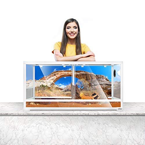 OIIBO 50 Gallon White Reptile Terrarium, 36' x 18' x 18' Knock Down Terrarium Front Opening Cage Sliding Door with Screen Ventilation Habitat Tank, Easy Assembly