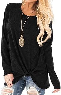 Women Autumn Shirts,Crossed Front Twist Knot Tunics Tops Round Neck Long Sleeve Casual Loose Fashion T-Shirts Chaofanjiancai