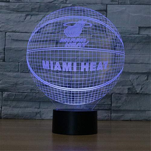 Smile Nachtlicht 7 Farben Basketball Tischlampe Fernbedienung LED Nachtlicht Optische Täuschung Lampe als Geschenk für Jungen oder Kinder,MIA,Remote