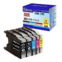 ブラザー LC12 Brother LC12-4PK 互換インク インクカートリッジ 大容量タイプ 5本セット(4色セット+1本ブラック) 残量表示可能【1年品質保障】LC12BK LC12C LC12M LC12Y 対応機種:MFC-J6710CDW MFC-J6910CDW MFC-J5910CDW MFC-J955DN MFC-J825N MFC-J705D/DW DCP-J925N DCP-J725N DCP-J525N DCP-J960DN-B/W DCP-J960DWN-B/W DCP-J860DN/DWN DCP-J810DN/DWN DCP-J710D/DW DCP-J940B/W DCP-J840N DCP-J740N DCP-J540N