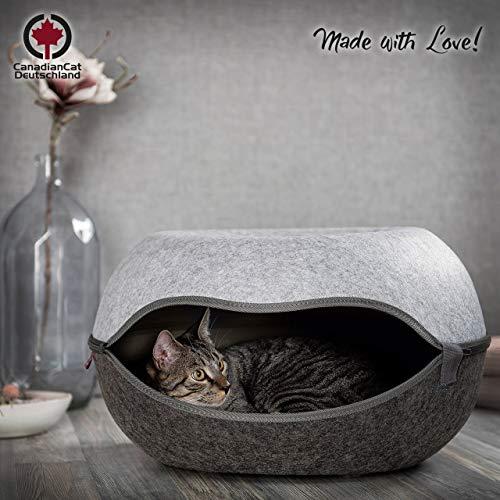 CanadianCat Company ® | Das Katzennest 2.0 | Katzenhöhle | Katzenbett | anthrazit/grau | 52 x 46 x 31 cm | Filzhöhle für Katzen