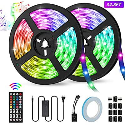 LED Strip Lights, KeShi 32.8ft RGB 300 LEDs SMD5050 IP65 Waterproof Light Strip Kit, Music Sync Rope Lights with 44-Key IR Remote Controller, Strengthen Tape, 12V 6A Power Supply