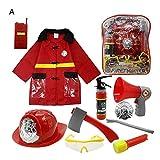 11pcs enfants costume de pompier, costume de jeu de rôle de chef des pompiers enfants pompier habiller ensemble cadeaux de pompier