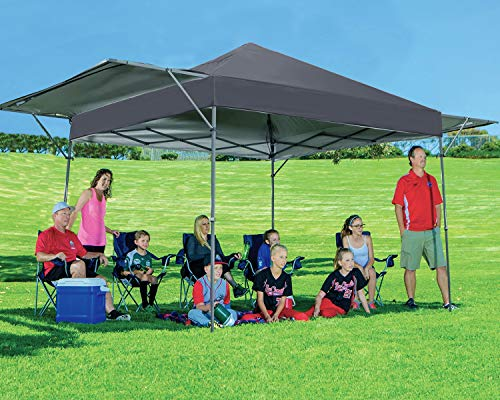 MasterCanopy Pop Up Gazebo Marquee Tent 3x5M Instant Canopy with Adjustable Dual Half Awnings to Creat 15 Square meter of Shade Coverage; Sandbags,x4,Tent Stakes x8(Dark Grey)