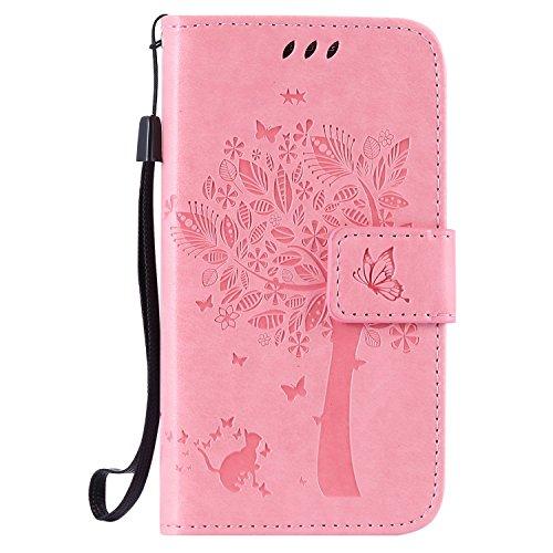 Guran® Funda de Cuero Para Samsung Galaxy Core Prime G360 Smartphone Función de Soporte con Ranura para Tarjetas Flip Case Cover-rosa