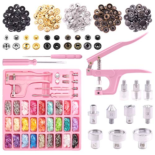Keadic Snaps and Snap Pliers Set, 31 Colors 360 Sets T5 Plastic Buttons and 48 Sets Metal Leather Snaps, Pink Sewing Snap Pliers, Snap Fasteners Kit for DIY Projects, Sewing and Crafting