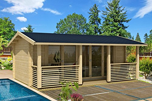 *Gartenhaus G139 inkl. Fußboden – 70 mm Blockbohlenhaus, Grundfläche: 22 m², Satteldach*