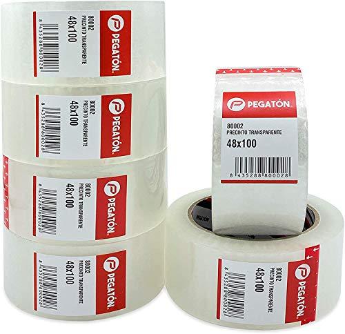 ZCENTER 6 Rollos Cinta Embalar 48MMx100M Cinta embalaje Cinta adhesiva Celo transparente para Cajas y Paquetes-Color Transparente