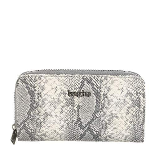Boscha Damen Geldbörse Portemonnaie Schlangenlederoptik Grau Grey