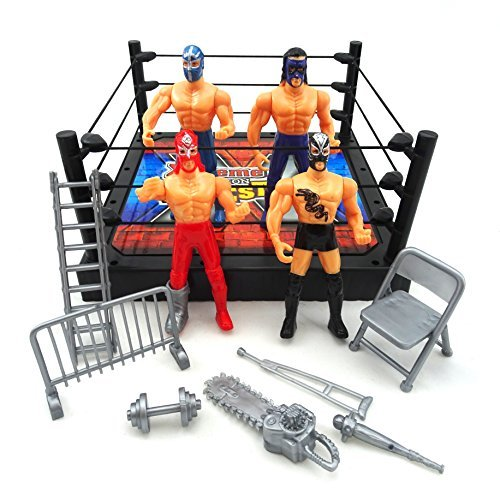 LilPals Extreme Wrestling Toy Set - Includes Wrestling Ring, Poles, Ropes, 4 Movable Action Figures & Miscellaneous Wrestling Accessories (Ladder, Chainsaw, Dumbbell, etc.) - Age 3+