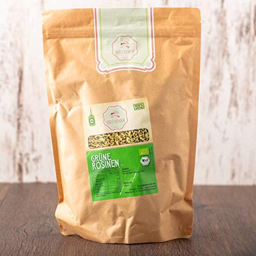 süssundclever.de® Bio Rosinen | grün | Rohkost | 1,0 kg | unbehandelt | plastikfrei und ökologisch-nachhaltig abgepackt