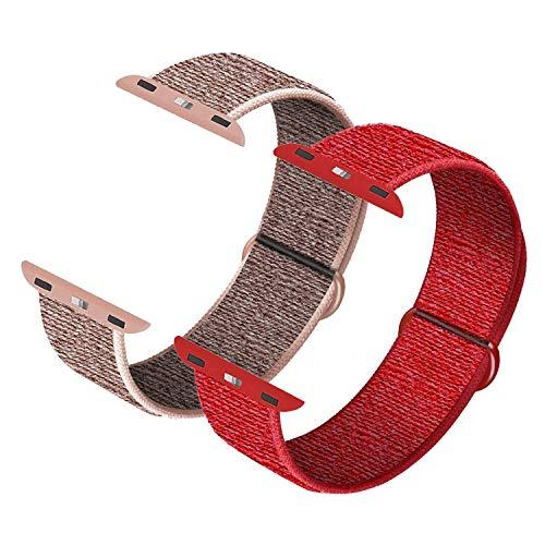 JONWIN Compatible con reloj de pulsera con correa de 42 mm y 44 mm, correa de repuesto para reloj de la serie 6/5/4/3/2/1, Pink Sand&Red
