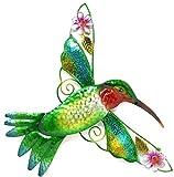 Bejeweled Display Hummingbird w/Glass Wall Art Plaque & Home Decor
