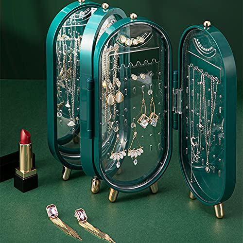 Caja de almacenamiento de joyas Pendientes Pendientes Collar Joyero Hogar Escritorio Exquisito Soporte de exhibición de gama alta verde