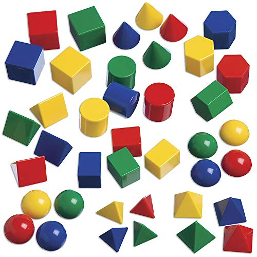 edxeducation Mini Geometric Solids - In Home Learning Toy for Early Math & Geometry - Set of 40 - Multicolored 3D Shapes - Math Manipulative For Kids