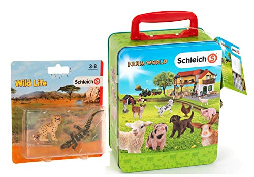 SCHLEICH Theo Klein 3113 3113-SCHLEICH Farm World - Maleta de metal para 18 animales Kids Wild Life de plástico, multicolor, 2 unidades 87394