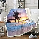 Ozeanwelle Decke 150x200cm für Sofa Couch Sommer Meer Strand Wohndecke Hawaiianische Tropische Palme Gedruckte Flanell Fleecedecke Decke Mikrofaser Kuscheldecke Sonnenuntergang