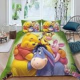Bedding Set Comforter 3D Children's Cartoon Including 1 Duvet Cover 2 Pillow Shams Duvet Cover for Boys Girls Bed Set Winnie The Pooh.webp King Size