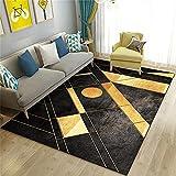Alfombras Dormitorio Matrimonio Alfombras Dormitorio Base Antideslizante Para Alfombras Las alfombrillas del hogar del dormitorio de la alfombra de oro negro se pueden lavar a máquina, a prueba de hum