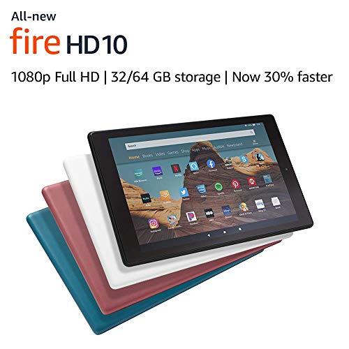 "Certified Refurbished Fire HD 10 Tablet (10.1"" 1080p full HD display, 32 GB) – Black (2019 Release)"