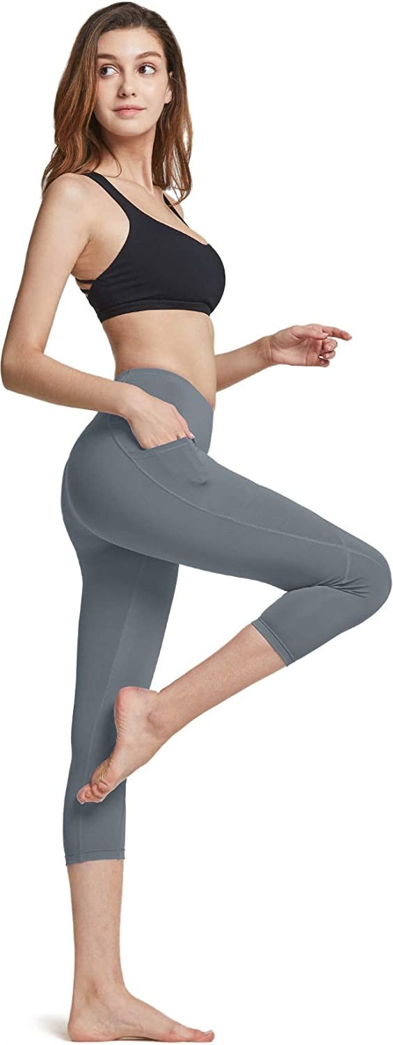 Tummy Control Yoga Leggings 4 Way Stretch Non See-Through Workout Running Tights ATHLIO High Waist Yoga Pants with Pockets
