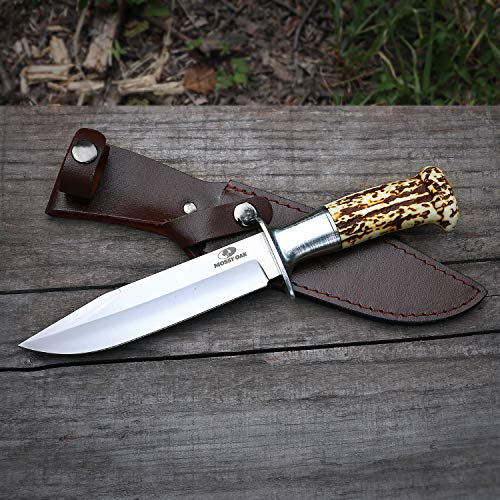 MOSSY OAK 10-1/2 inch Fixed Blade Hunting Knife, Rat-tail Tang Handle with Leather Sheath