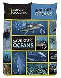 National Geographic Juego de Fundas de Edredón y De Almohada de Save Our Ocean (Salva los océanos) 135 x 200 o 200 x 200 + Fundas 50 x 75 cm, Motivo Reversible Azul (Fundas Nórdicas 150)