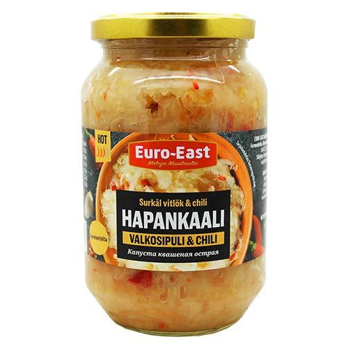 Euro-East Sauerkraut mit Knoblauch und Chili 6-pack im Glas, Vegan und Glutenfrei eingelegter Kohl, Fermentiertes Gemüse (6x460g)