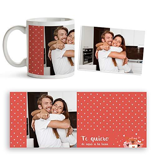 Fotoprix Taza para Parejas Personalizada con Foto y Texto | Regalo Día de los Enamorados | San Valentín (Corazón)