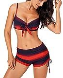 Aleumdr Donne Push Up con Pantaloncino Costume da Bagno da Donna Tie-Dye Costumi Donna Mare Due Pezzi Bikini Pantaloncino con Farfalla, Rosso