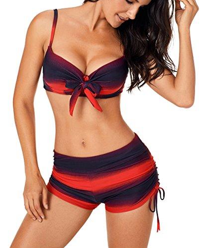 Aleumdr Donne Push Up con Pantaloncino Costume da Bagno da Donna Tie-Dye Costumi Donna Mare Due...