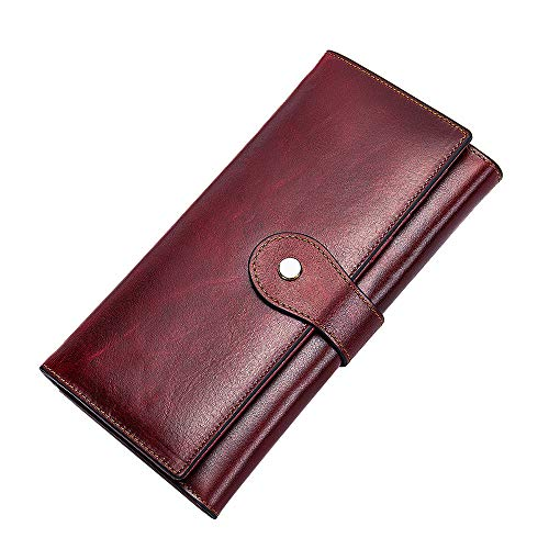 Lecxci Women Leather Clutch Wallets Large Capacity Money Organizer Multi-Card Slots Purse for Ladies (style 2,wine)