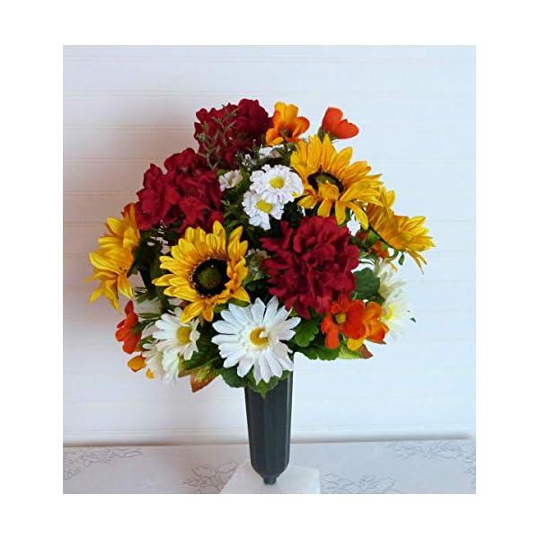 Silk Florals & Frills Sunflower Cemetery Arrangement, Cemetery Flowers with Sunflowers, Cemetery Flowers with Red Geraniums